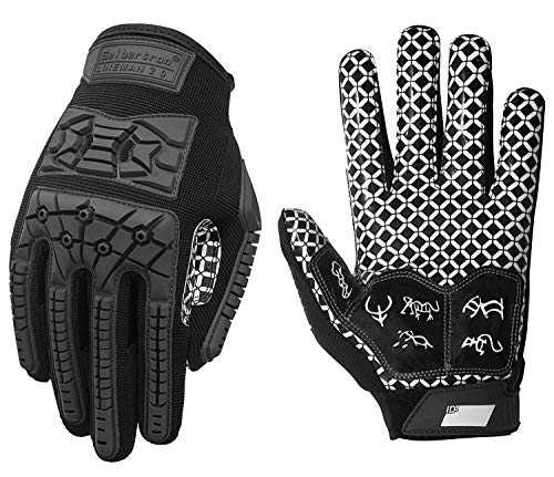Seibertron Lineman 2.0 Anti-dérapant Shock-Absorbant Rembourré Américain Football Receiver Gants/Gloves, Flexible TPR Impact Protection Back of Hand Glove Adulte Taille Black M