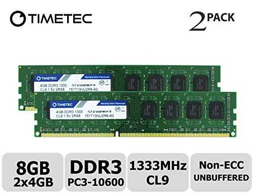 Timetec Hynix IC 8GB Kit (2x4GB) DDR3 1333MHz PC3-10600 Unbuffered Non-ECC 1.5V CL9 2Rx8 Dual Rank 240 Pin UDIMM Bureau Mémoire RAM Module Upgrade (8GB Kit (2x4GB))