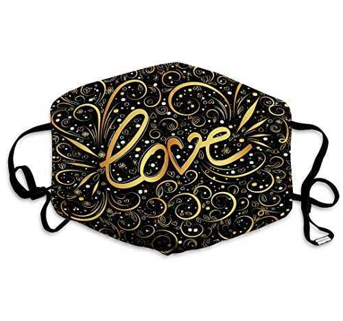 Xunulyn Mouth Mask Anti Pollution Dust Face Mask Washable Reusable Breathable for Man Woman Abstract Love Word Hand Lettering Golden Swirls swooshes Gold Black Swirl Elegant Valentine s Colored