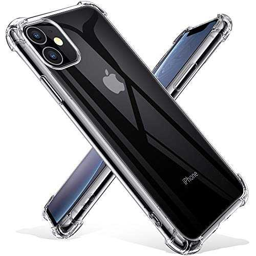 Joyguard Coque iPhone 11 2019 [2 × Verre trempé Protection écran], iPhone 11 Coque Souple TPU Silicone [Shock-Absorption] AIR Cushion Protection Coin Housse iPhone 11-6.1pouces - Transparent
