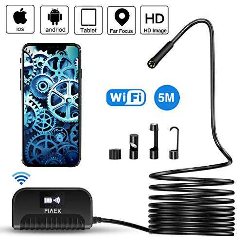 Endoscope WiFi 2.0 Mégapixels 1080P HD Caméra Endoscopique IP68 Etanche Caméra d'inspection 5 M Semi Rigide Câble Endoscope Compatible avec Iphone Android Smartphone Tablette-5M