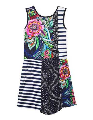 Desigual Girl Knit Dress Sleeveless (Vest_Antananarivo) Robe, Bleu (Navy 5000), 128 (Taille Fabricant: 7/8) Fille