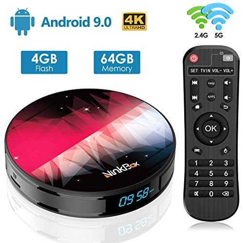 NinkBox Android TV Box de Version Android 9.0, 【4G 64G】 N2 Plus TV Box de Bluetooth 4.0, RK3318 Quad-Core 64bit Cortex-A53, Box Android TV de LAN100M et Wi-FI 2.4G/5G TV Box 4K Boitier Android TV