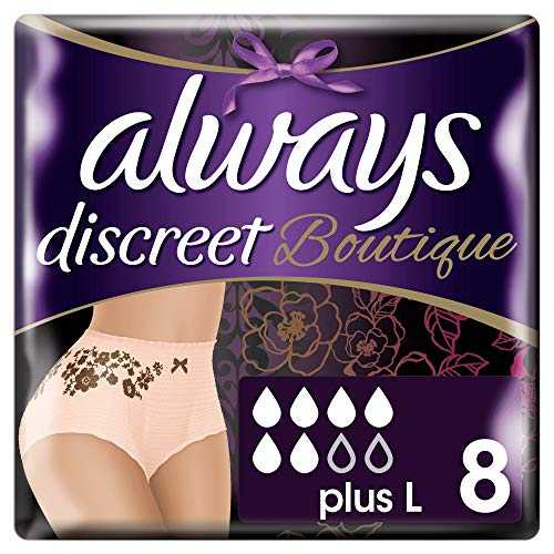 Always Discreet Boutique Incontinence Culottes L 8, Couleur Pêche - Lot de 4