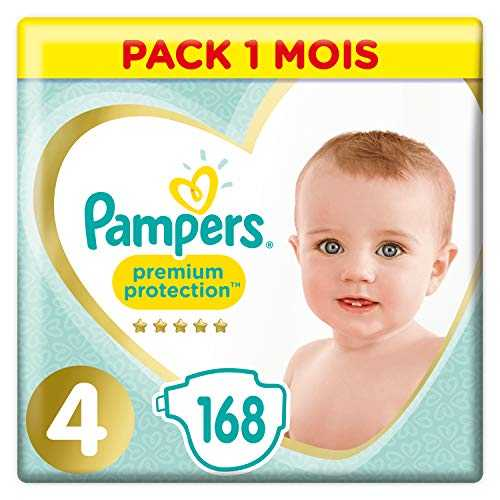 Pampers Premium Protection Taille 4, 168 Couches, 9-14kg Pack 1 Mois