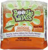 Boogie Wipes Natural Saline Kids and Baby Nose Wipes for Cold and Flu, Fresh Scent, 90 Count by Boogie Wipes