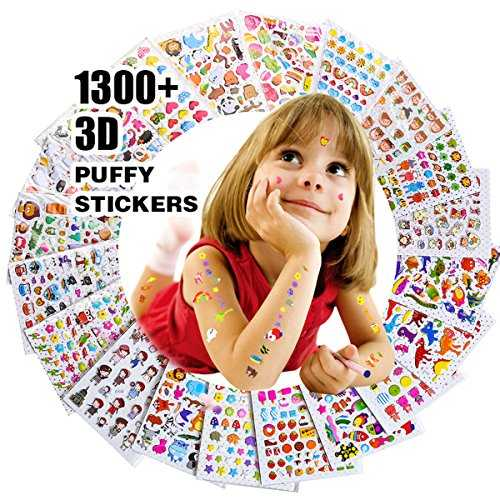 Autocollants 1500 , Stickers 3D en Relief Enfant, Fille Garçon de Grand Lot de 20 Planches Toutes Différentes Scrapbooking, journaux de Balle, Autocollants Adulte, y Compris Les Animaux