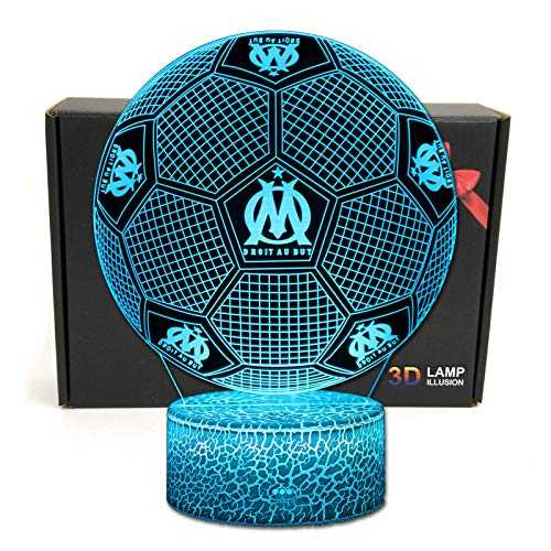 Deal Best Football Forme 3D Illusion Optique Intelligent 7 Couleurs LED Night Light Lampe de Table avec câble d'alimentation USB Olympique de Marseille